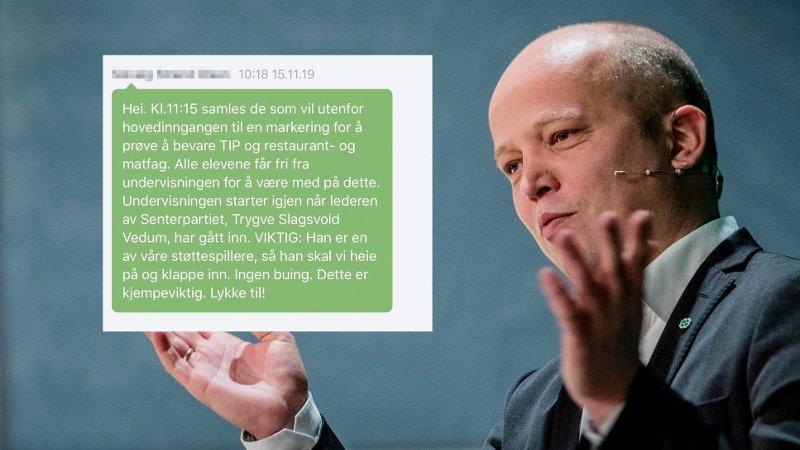 Landsstyremøte i Senterpartiet Oslo 20191028. Partileder Trygve Slagsvold Vedum under Senterpartiets landsstyremøte på Hotell Bristol i Oslo.
