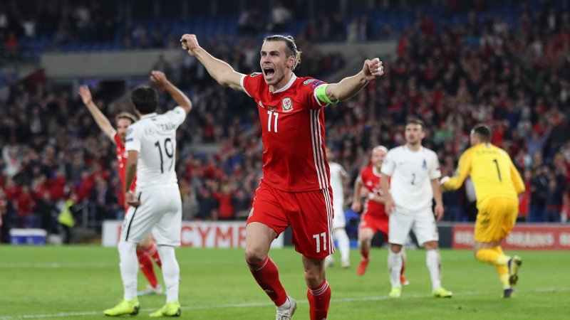 Wales' Gareth Bale celebrates scoring their second goal