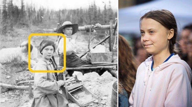 Et foto som angivelig er fra 1898 vekker oppsikt i sosiale medier. Jenta på bildet ser nemlig prikk lik ut som Greta Thunberg.