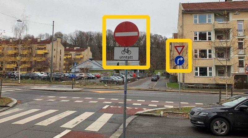 INNKJØRING FORBUDT: I krysset Sofienberggata/Finnmarksgata på Tøyen i Oslo gir skiltingen to motstridende meldinger til trafikantene. Nøkkelen er å lese skiltet som syklist, forklarer Bymiljøetaten.
