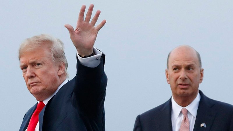Impeachment Trumps Man in Brussels FILE - In this July 10, 2018, file photo, President Donald Trump is joined by Gordon Sondland, the U.S. ambassador to the European Union, second from right, as he arrives at Melsbroek Air Base, in Brussels, Belgium. Sondland originally planned to meet Tuesday, Nov 19, with EU Commission Vice President Valdis Dombrovskis to discuss better cooperation between the two trading juggernauts. That meeting was postponed indefinitely because Sondland was to testify Wednesday before Congress about his involvement in Ukraine.