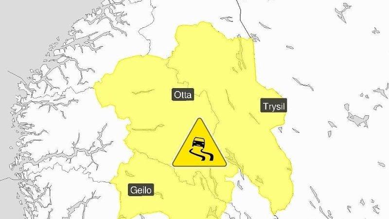 Meteorologene har sendt ut gult farevarsel for underkjølt regn i deler av Buskerud, Oppland og Hedmark torsdag.