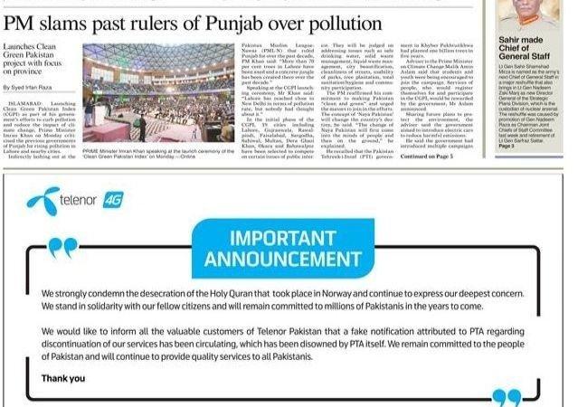 Telenor fordømmer koran-brenningen i en annonsere i Pakistan.