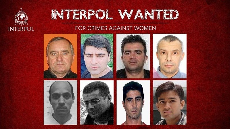 Åtte personer er etterlyst internasjonalt i forbindelse med Interpols most wanted-kampanje. Alle åtte er etterlyst for vold mot kvinner.