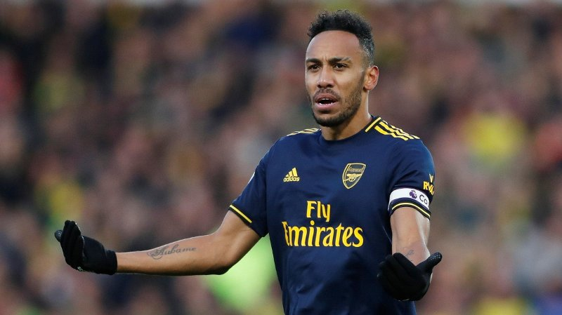 Soccer Football - Premier League - Norwich City v Arsenal - Carrow Road, Norwich, Britain - December 1, 2019 Arsenal's Pierre-Emerick Aubameyang reacts Action Images via Reuters/Matthew Childs EDITORIAL USE ONLY. No use with unauthorized audio, video, data, fixture lists, club/league logos or