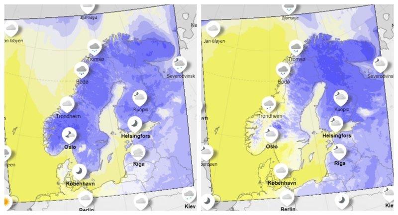 FRA MINUS TIL PLUSS: Tirsdag ventes temperaturene å øke over hele landet, og minusgrader mange steder.