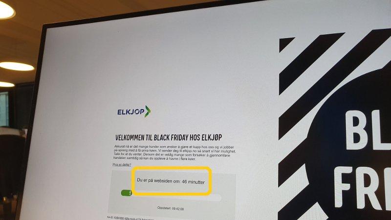 NETTBUTIKKEN STRUPET: Kunder opplevde lange ventetider for å komme inn på nettbutikken til Elkjøp på Black Friday. Nettkøen startet allerede torsdag kveld.