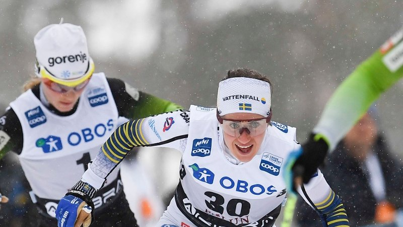 Sweden's Ebba Andersson competes to place second in the women's FIS World Cup 10 km Interval start free style event in Falun on March 17, 2019. / Sweden OUT
