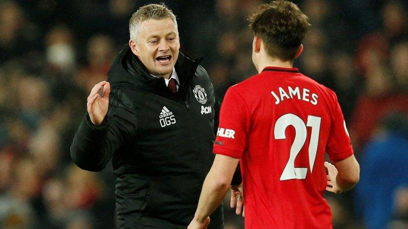 OPPTUR: Manchester United-manager Ole Gunnar Solskjær og spiller Daniel James fikk en opptur mot Tottenham.