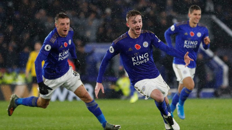 James Maddison of Leicester City celebrates scoring their second goal with the other scorer Jamie Vardy of Leicester City during the Premier League match at the King Power Stadium, Leicester. Picture date: 9th November 2019. Picture credit should read: Darren Staples/Sportimage via PA Images