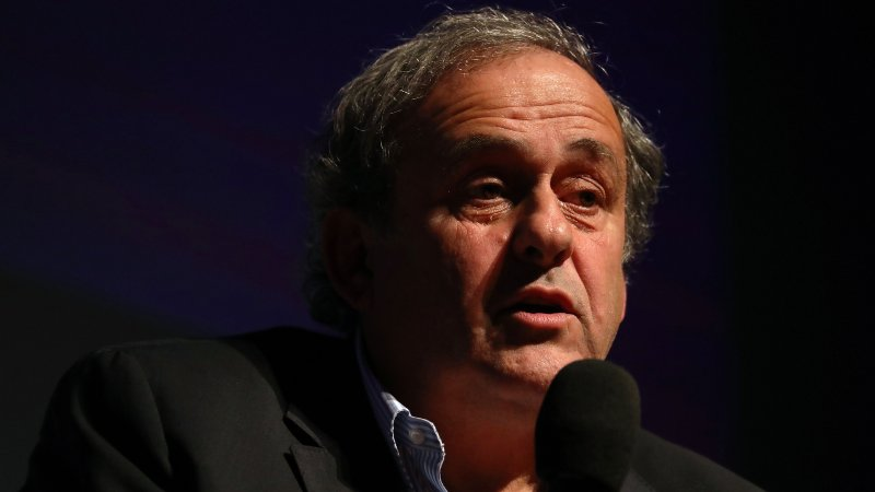 French football legend Michel Platini addresses the audience as he conducts an exceptional masterclass on November 22, 2019 at the Theatre National de Nice, in the French riviera city of Nice.
