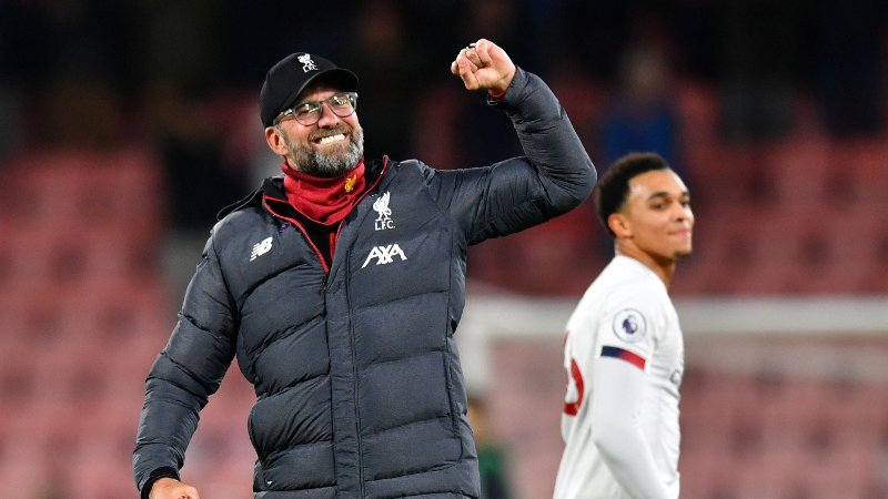 Soccer Football - Premier League - AFC Bournemouth v Liverpool - Vitality Stadium, Bournemouth, Britain - December 7, 2019 Liverpool manager Juergen Klopp celebrates after the match REUTERS/Dylan Martinez EDITORIAL USE ONLY. No use with unauthorized audio, video, data, fixture lists, club/league logos or