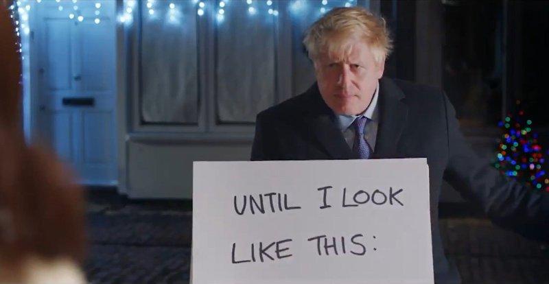 Statsminister Boris Johnson med sin egen Love Actually-inspirerte valgkampvideo.