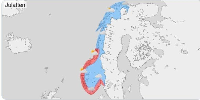 Værkartet over Norge julaften, 12 dager før, viser kuldegrader de fleste steder i landet, merket med blått.