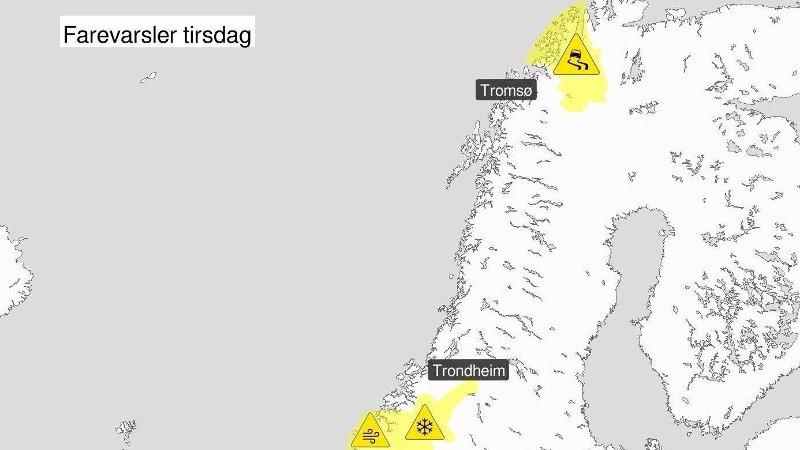 FAREVARSLER: Flere farevarsler er sendt ut for deler av landet. Se farevarsler på yr.no.
