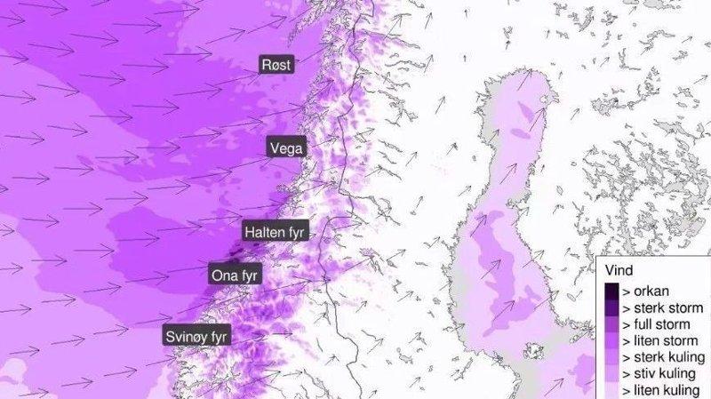 STERK VIND: Meteorologisk institutt advarer om fortsatt storm med en styrke i kastene på opp mot 35 til 38 meter i sekundet både i Møre og Romsdal, Trøndelag og Nordland.