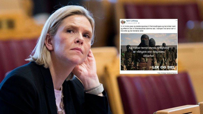 Sylvi Listhaug trakk seg som justisminister etter en Facebook-post i 2018. Nå kan lovforslaget som lå bak dukke opp igjen.