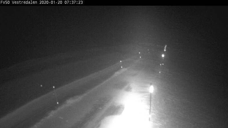 Fylkesvei 50 mellom Hol og Aurland er mandag morgen stengt på grunn av uvær.
