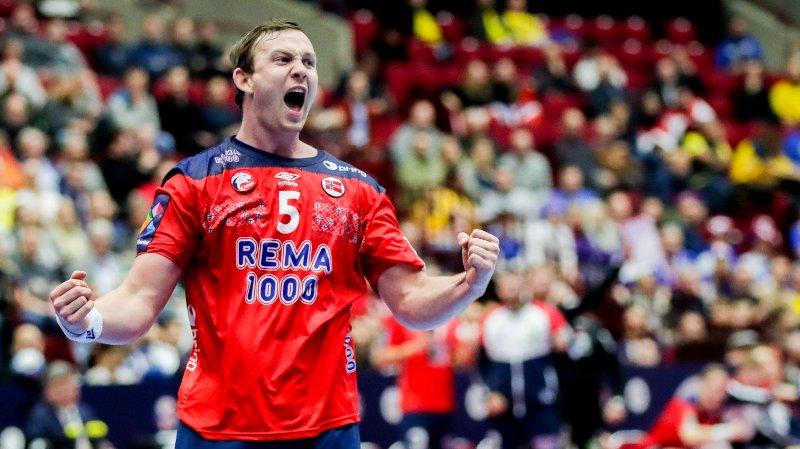 Malmø, Sverige 20200121. Sander Sagosen jubler under kampen mellom Norge-Island.