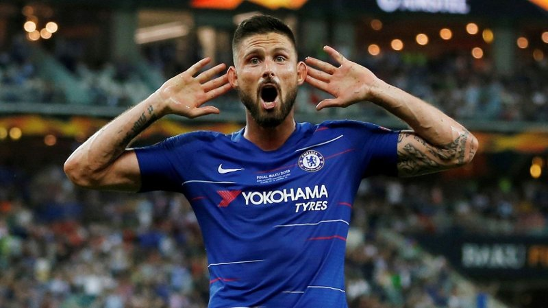 FILE PHOTO: Soccer Football - Europa League Final - Chelsea v Arsenal - Baku Olympic Stadium, Baku, Azerbaijan - May 29, 2019 Chelsea's Olivier Giroud celebrates their fourth goal REUTERS/Amr Abdallah Dalsh/File Photo