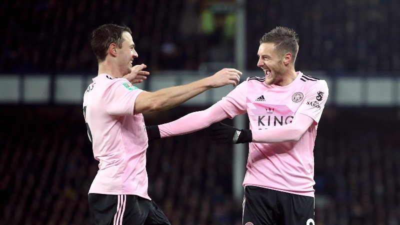 Leicester City's Jonny Evans celebrates scoring his side's second goal of the game with Jamie Vardy during the Carabao Cup quarter final match at Goodison Park, Liverpool.