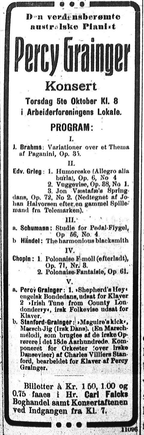 TØNSBERGS BLAD 1911: Percy Graingers konsert i Arbeiderforeningens lokalervar godt annonsert i lokalpressen.