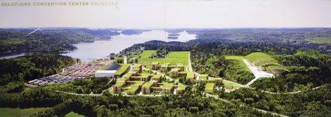 GRØNT: Slik ser ett av Brunstad-forslagene ut. Eksisterende bygningsmasse ligger til venstre, nye konferanse- og boligkompleks i midten og idrettsanlegget til høyre.