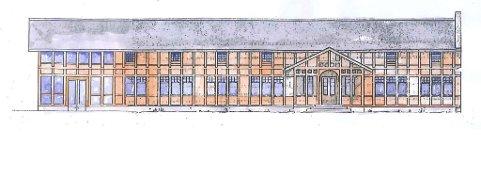 Den nye atkomstfoajeen (til venstre i prospektet) utformes ved at byggets tømmerkonstruksjoner fortsettes under en forlengelse av eksisterende tak. Mellom søyler og bjelkeender monteres glass. Rommet skal lyses opp, og slik sett får en annonserende effekt. Prospekt: Siv.ark. Per skaflem Castor Kompetanse