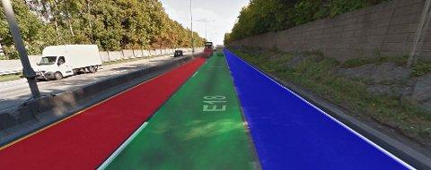 Blått felt for kollektivtransport og taxi, grønt felt for elbil, tungtransport og kompiskjøring - og rødt felt for alle andre.