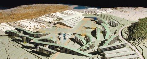 Modell over den massive utbyggingen i vannkanten ved Bogen i Stokke.