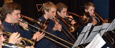 VINNERE: Slik ser trombonerekka i norges ledende skolekorps ut under aksjon i NM.