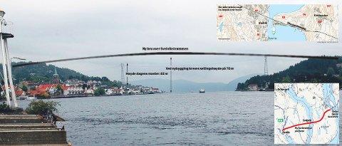 Så høy kan en ny bru over Svelvikstrømmen bli om Statens vegvesenog politikerne går inn for å bygge en ny E18 fra Drøbak til Sande via Svelvik