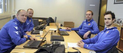 Den nye utviklingssjefen Haakon Lunov (t.v.) har satt sammen et helt nytt team, bestående av Vitor Gazimba (f.h), Harald Johannessen og Klaus Pettersen. Kjetil Lundebakken var ikke til stede da bildet ble tatt.