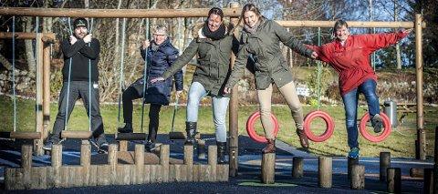 Alle skal i aktivitet: De voksne får heller ikke sitte stille når det er Liv og røre. Fem av dem som står bak er Thomas Nielsen, Hjelper'n, Torhild Haga Brødholt, helsesøster, Lene M. Østby, Frisklivssentralen, Kine Aileen Haug, Frisklivssentralen og Anna M. Eklöf-Flugstad, fysioterapeut. Alle foto: Christian Clausen