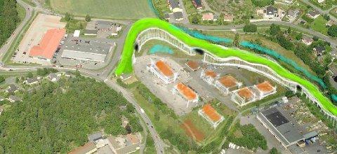 Idéskissen som ble lagt fram for de folkevalgte inneholder en lang bygning (merket grønt) og flere separate boligenheter. Tegning: Lystad Eiendom AS