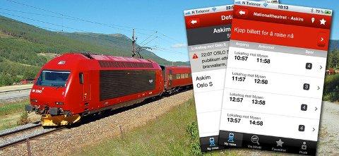 NSBs app lar deg kjøpe togbillettene direkte fra mobiltelefonen.