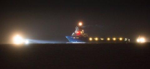 Supplybåten Stril Myster kom fra Bergen og var på vei inn til Haugesund da brannen oppstod.