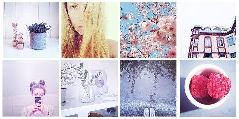En collage som viser noen av bildene fra Hannah har delt på Instagram.