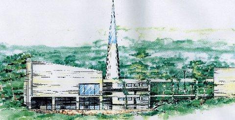 <b>Super-moske.</b> Det muslimske forsamlingshuset på Fjell blir et av Drammens mest særpregede bygg. (Tegning: Arkitektkompaniet)