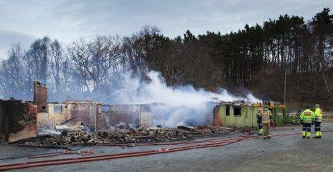 BRANNTOMTEN: Dette er restene av Vandaskog skule. Foto: Terje Størksen.