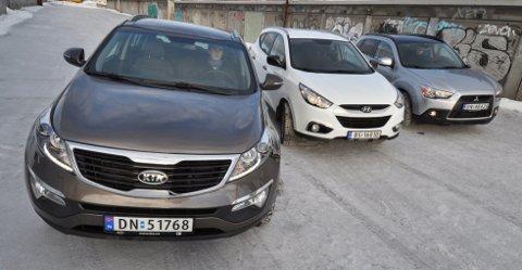 Kia Sportage foran Hyundai ix35 og Mitsubishi ASX.