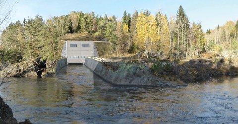 Inne i fjellet: Det nye kraftverket på Dalsfoss blir knapt synlig i terrenget. Fotomontasje: Skagerak Kraft AS