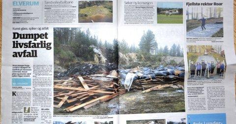 Faksimile: Østlendingen 4. november 2014. Sak om livsfarlig byggavfall og miljøfarlig avfall dumpet på Starmoen i Elverum.