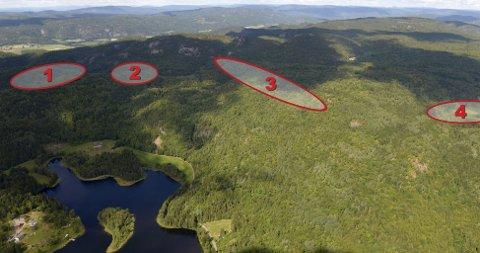 STOR NORSK GRUVE: Kodal-gruva blir stor i norsk målestokk. Anleggene vil ligge i åsen mellom Lågendalen (i bakkant av bildet) og Vestre Kodal (i forgrunnen). Selve dagbruddet (3) vil bli 1.900 meter langt. Der Neselva renner ned mot vest vil to demninger (1) bygges. En tilsvarende, men litt mindre demning vil bygges i elva som renner ned i øst (4). Knuseverk, verksted og kontorer (2) vil ligge langs veien mellom gruva og demningene i vest. (Foto/grafikk: Olaf Akselsen/Jarle Sør-Reime)