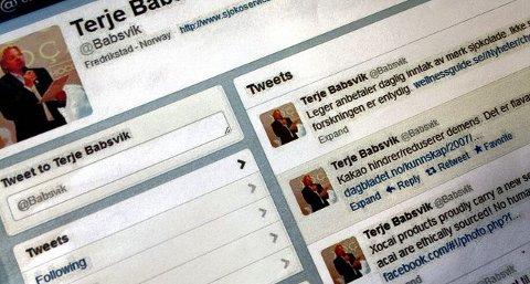 sjokoladepromotør. Terje Babsvik (57) reklamerer med at leger anbefaler å spise mørk sjokolade daglig, og er ellers karakterisert som den viktigste XoCai-medarbeideren i Norge. skjermdump fra twitter