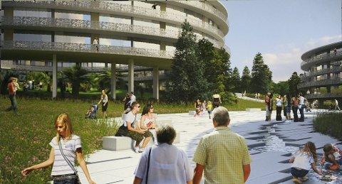 FRODIG: Under og rundt de sju sirkelformede bygningene er det tenkt parkmessig beplantning.