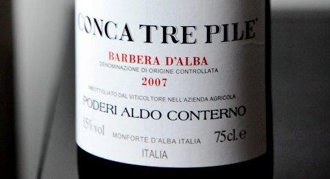 Barbera d'Alba, Conca Tre Pile, Aldo Conterno 2007 (best. nr. 5943401, kr 295, bestillingsutvalg).