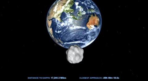 NASA har laget denne fremstillingen av asteroiden 2012 DA14 idet den passerer jorda. 15. februar vil asteroiden, som har en diameter på rundt 50 meter, passere nærmere jorda enn mange av satellittene som kretser rundt planeten vår. Det er ingen fare for at asteroiden kommer til å treffe jorda.