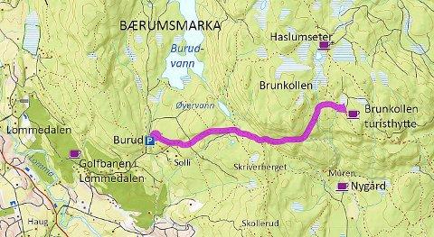 burudvann kart Budstikka   På sti til Brunkollen burudvann kart
