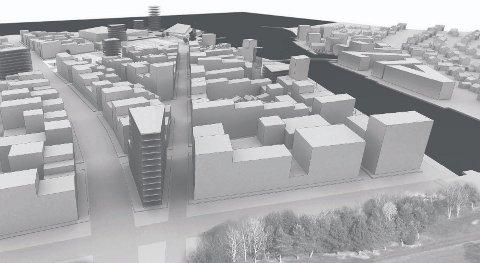 IKKE BRA: Tønsbergs Blad har de siste dagene presentert fremtidsvisjoner for Tønsberg. Rene skrekkvisjoner, mener Paul Grøtvedt. Illustrasjon: Dyrvik arkitekter